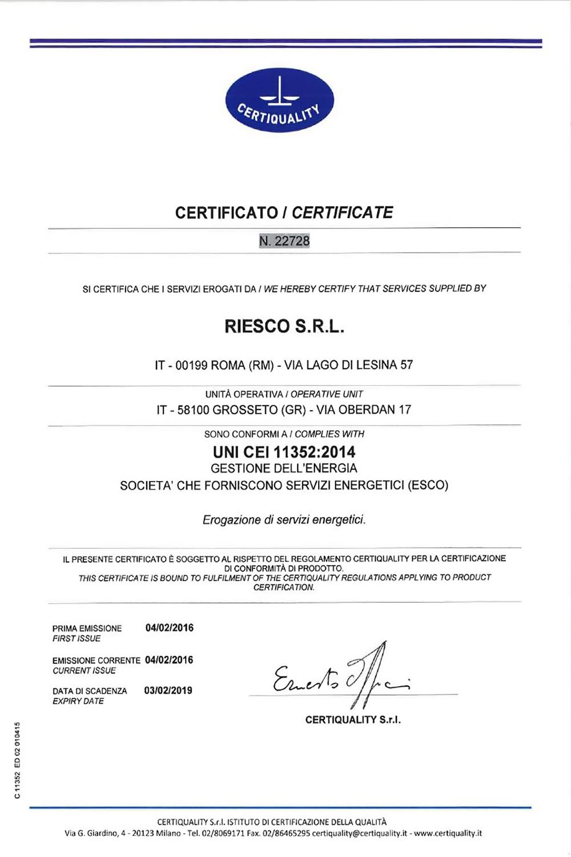 RiESCo Energy Service Company - Esco certificata UNI CEI